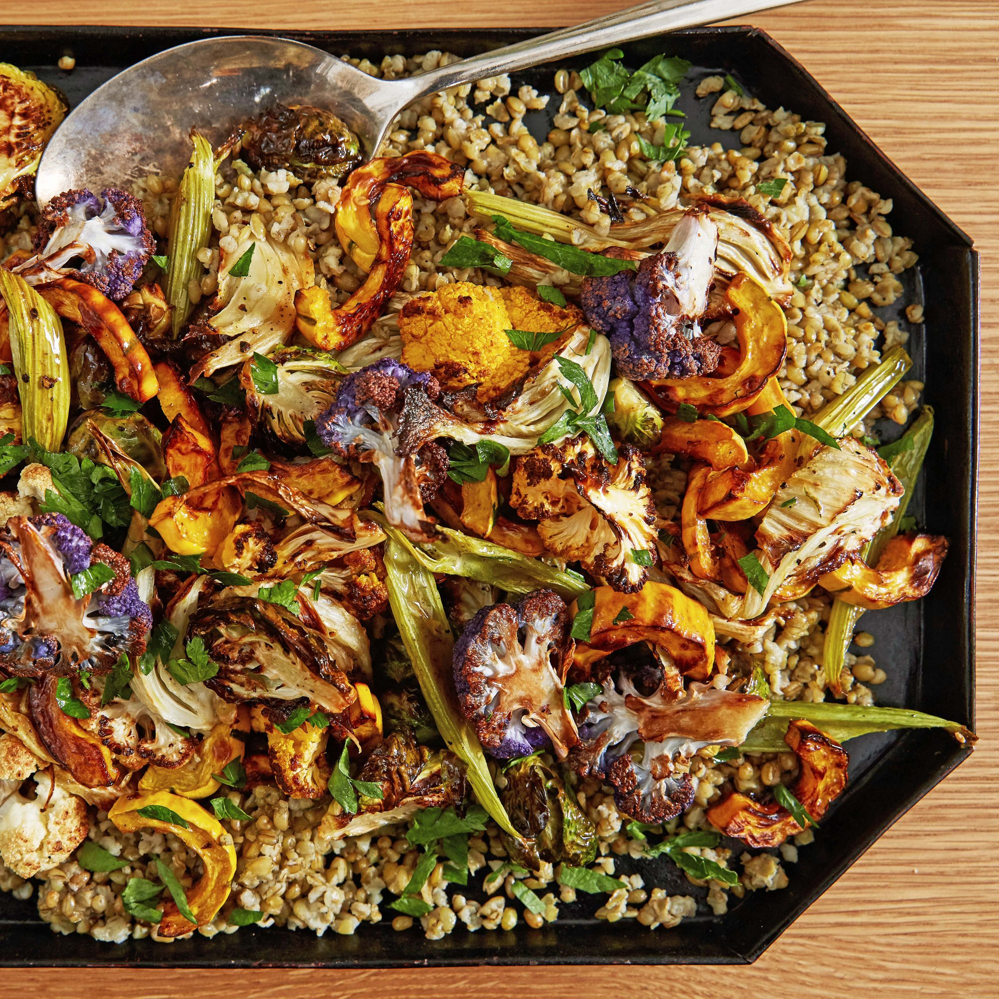 roasted root vegetables and freekah with brown butter