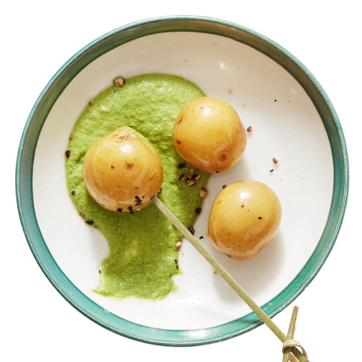 baby potatoes with cilantro sauce