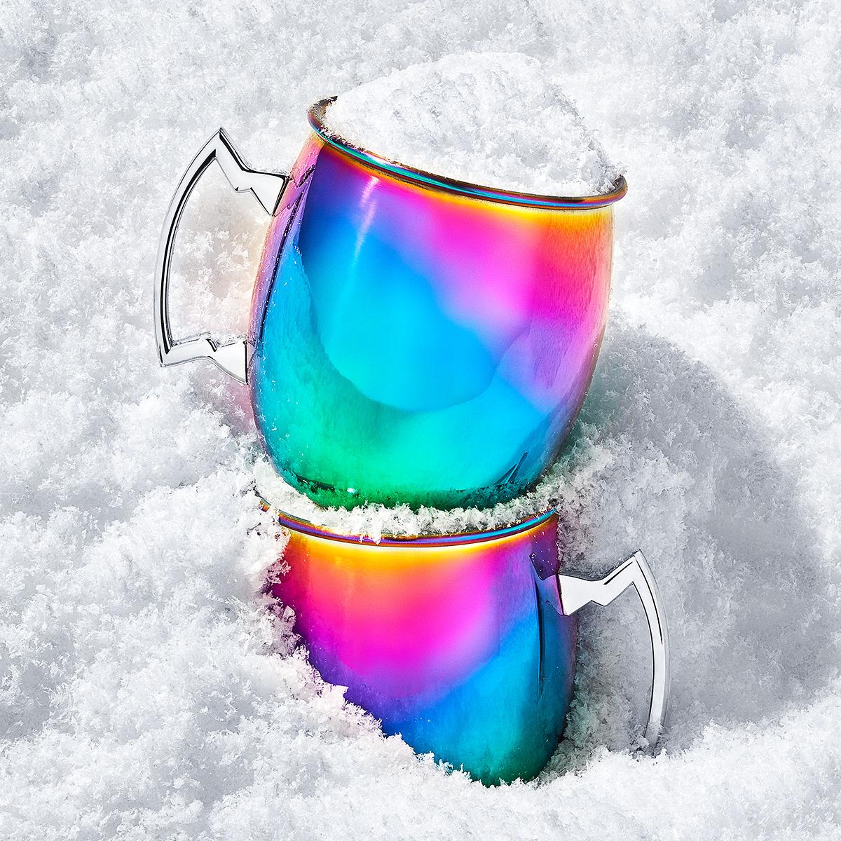 thirstystone metallic rainbow moscow mule mugs
