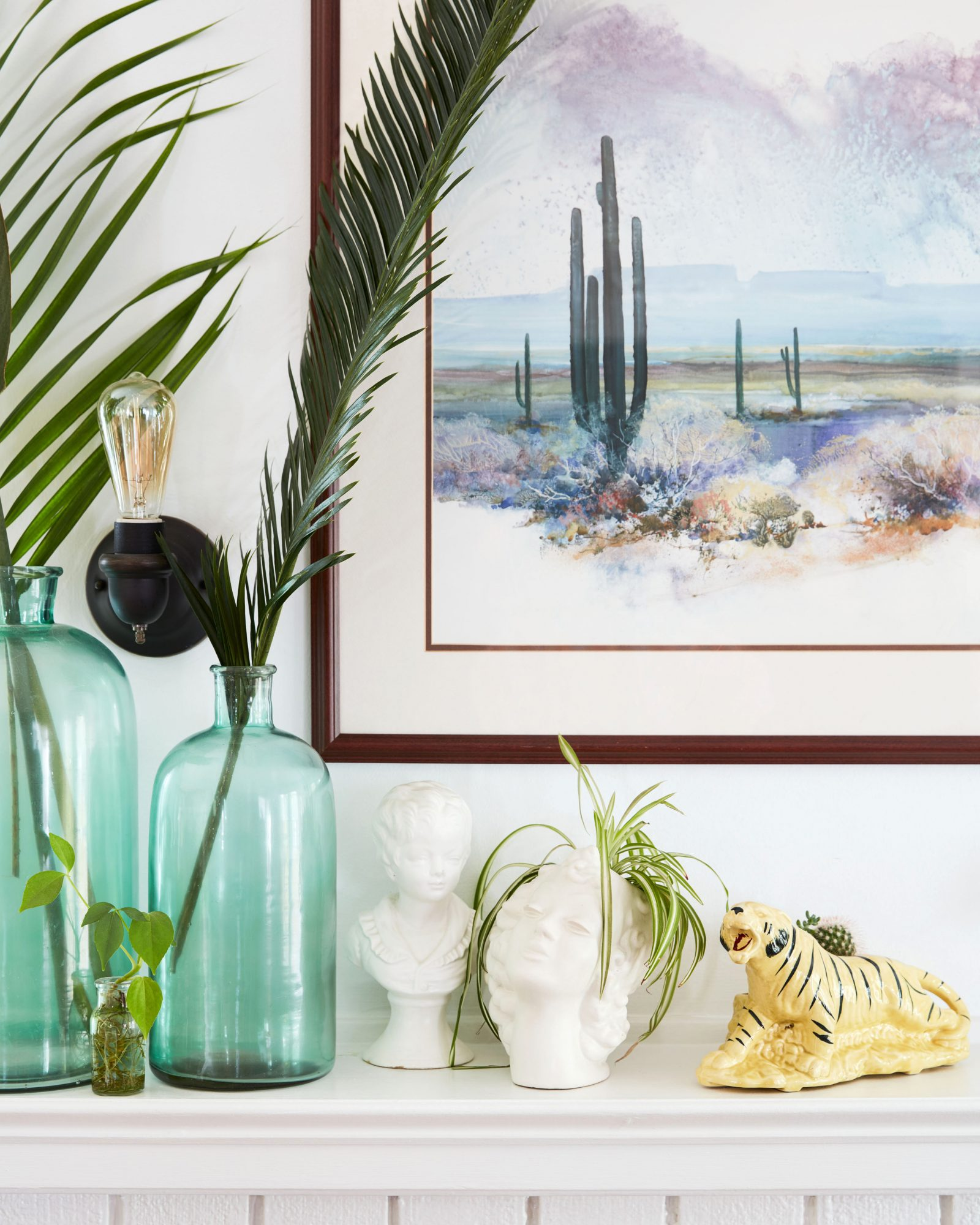 mantle vases and paintings