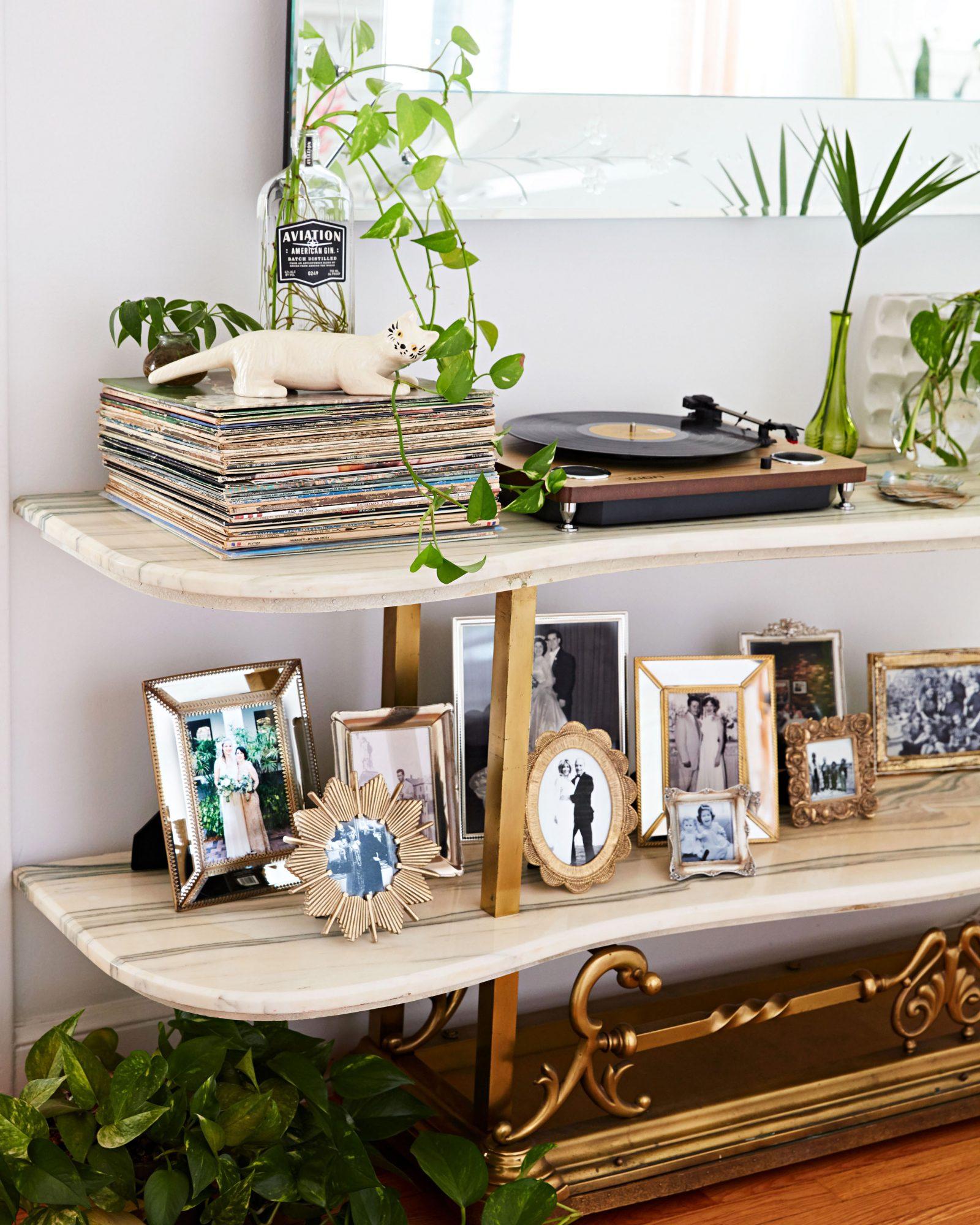 shelving records record player photos