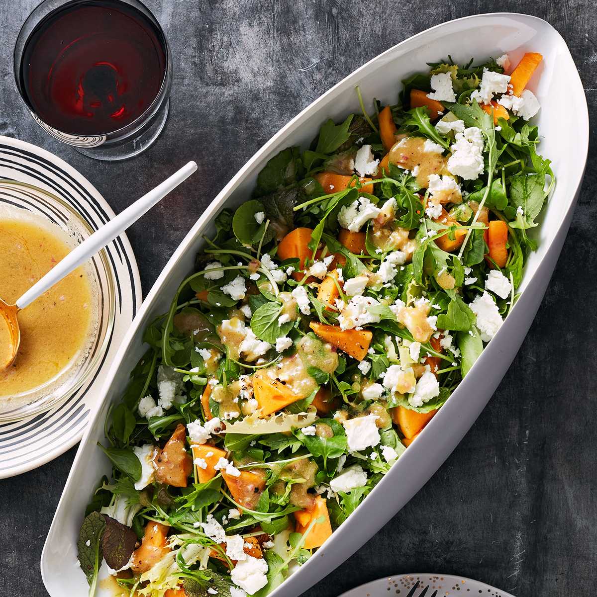 Green Salad with Persimmons & Feta