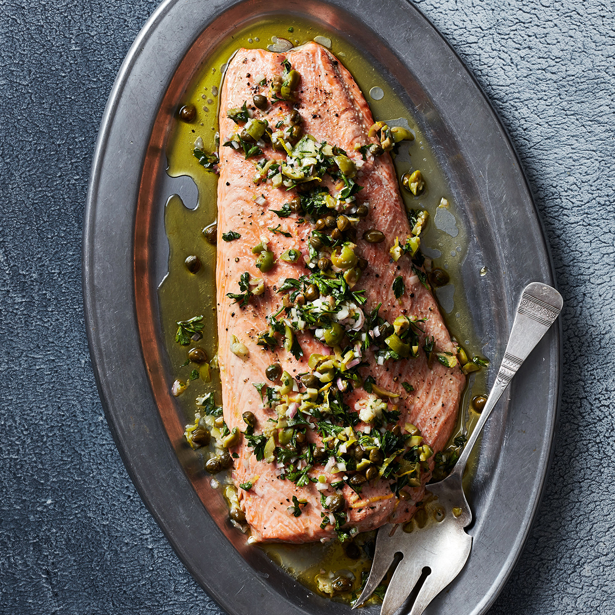Salmon with Green Olive-Caper Sauce