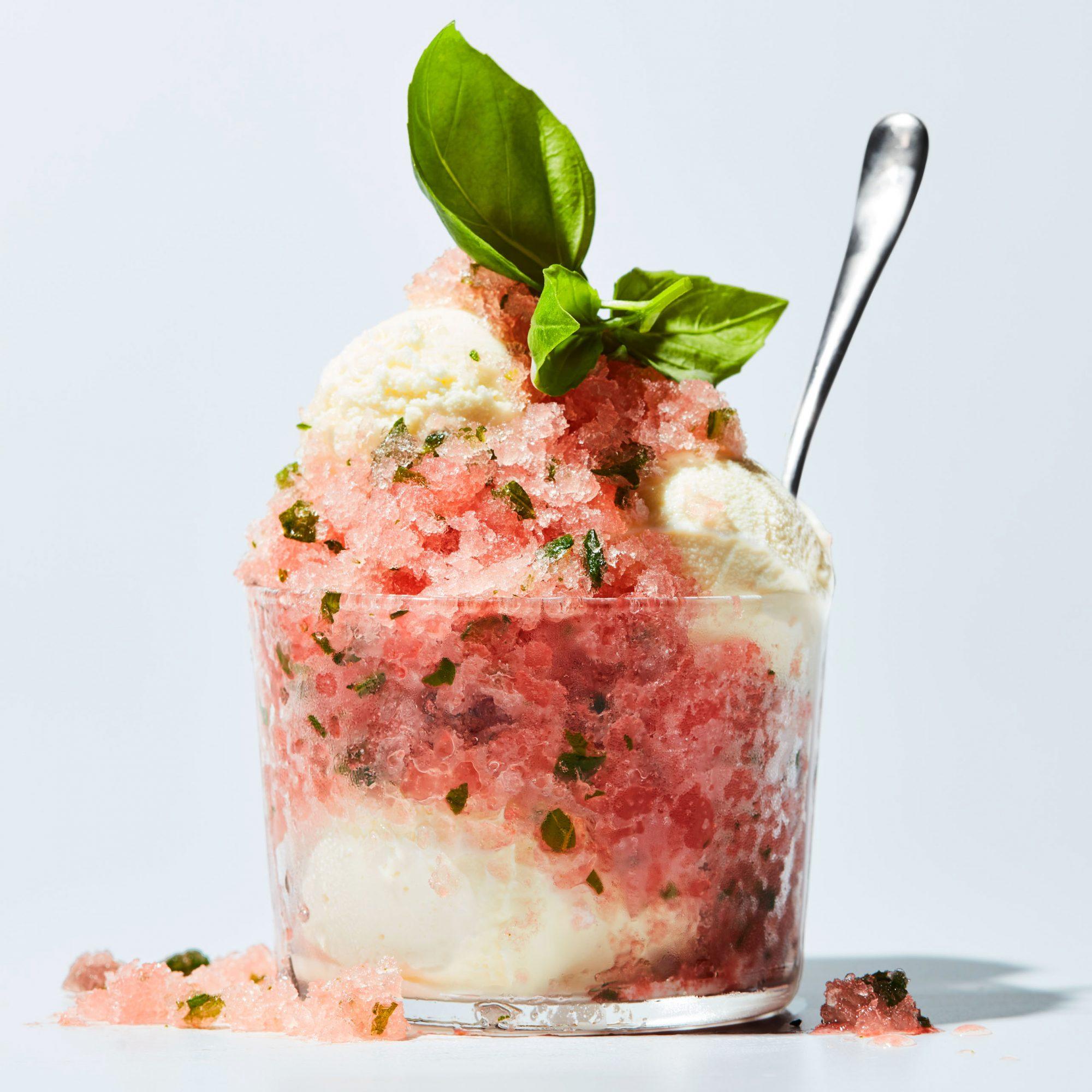 Tomato-Basil Granita with Vanilla Ice Cream