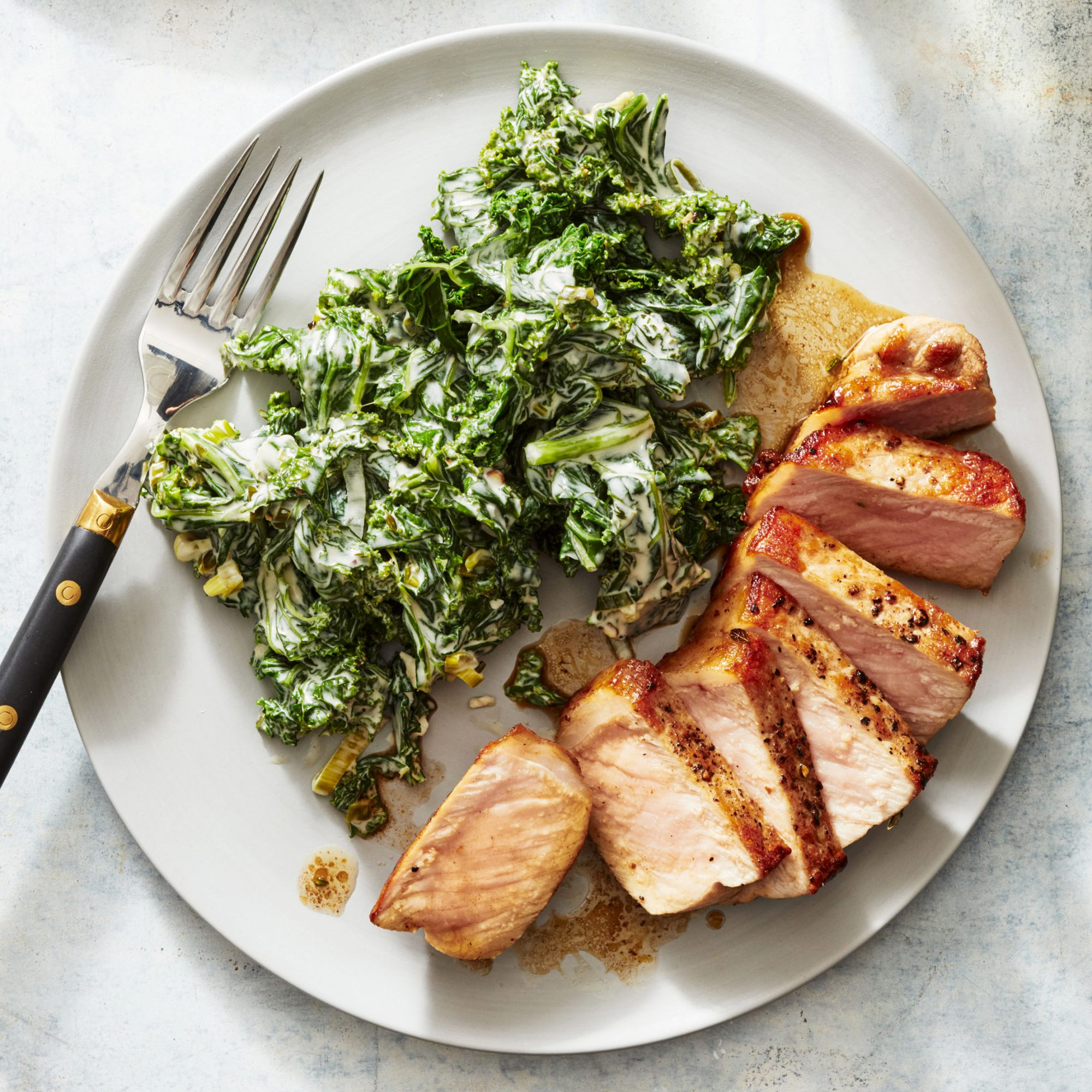 Butter-Basted Pork Chops with Tangy Creamed Kale