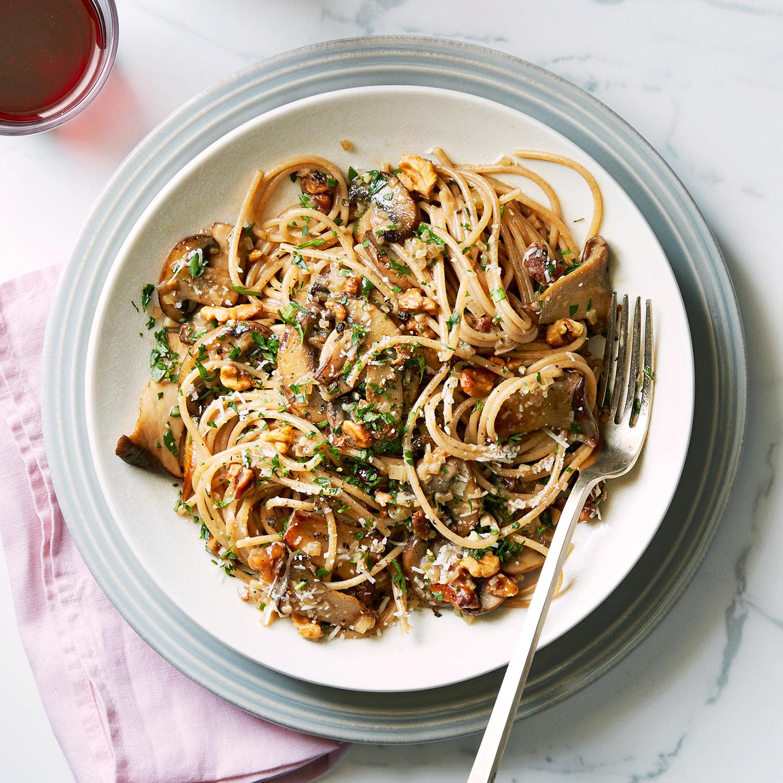 farro pasta with mushroom ragu and walnuts