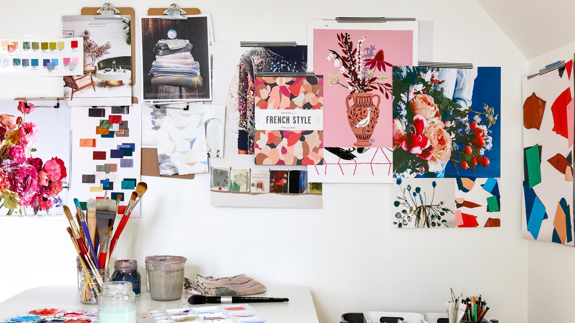 paintings on walls kelly ventura home office studio