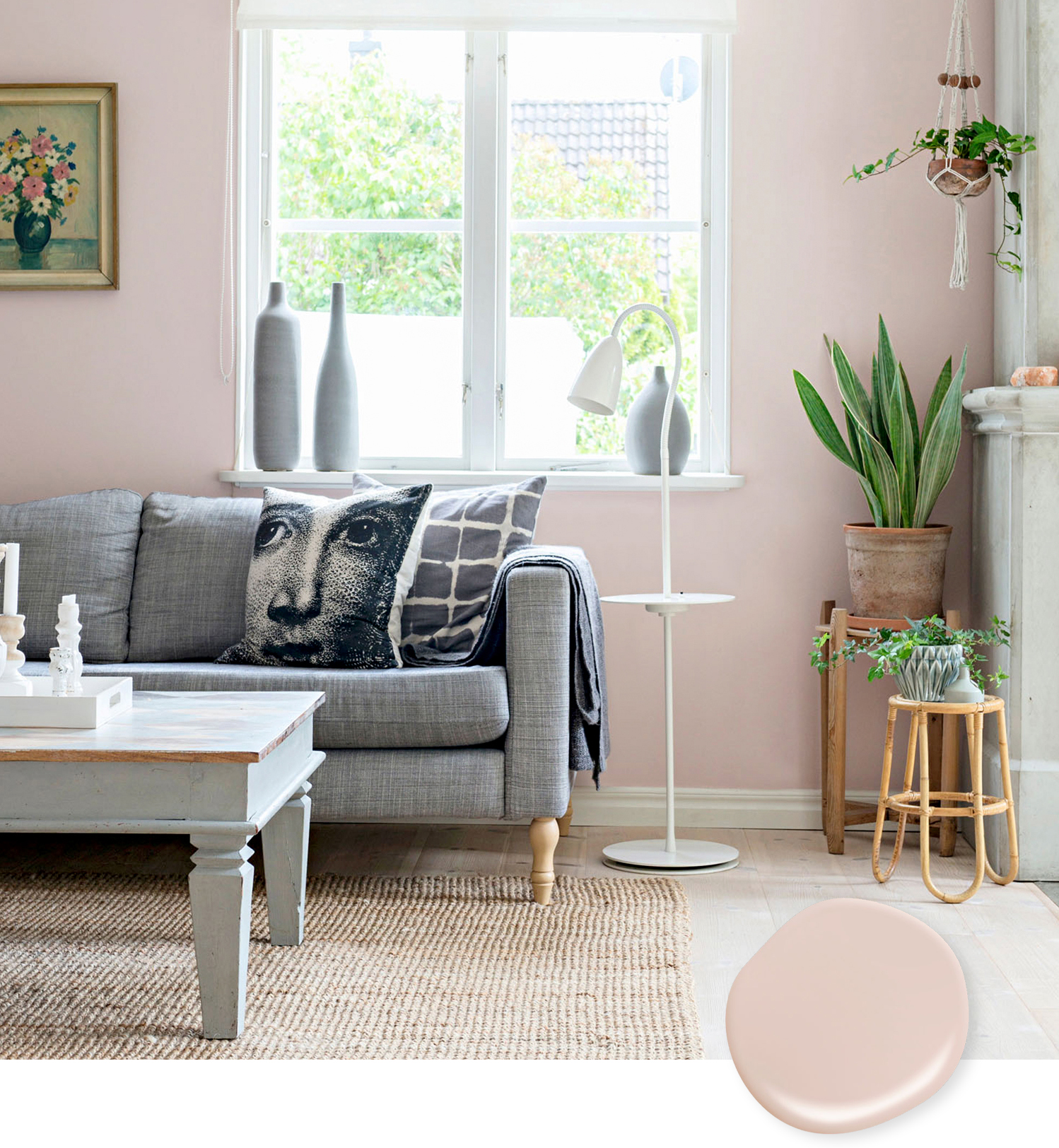 modern blush living room and swatch
