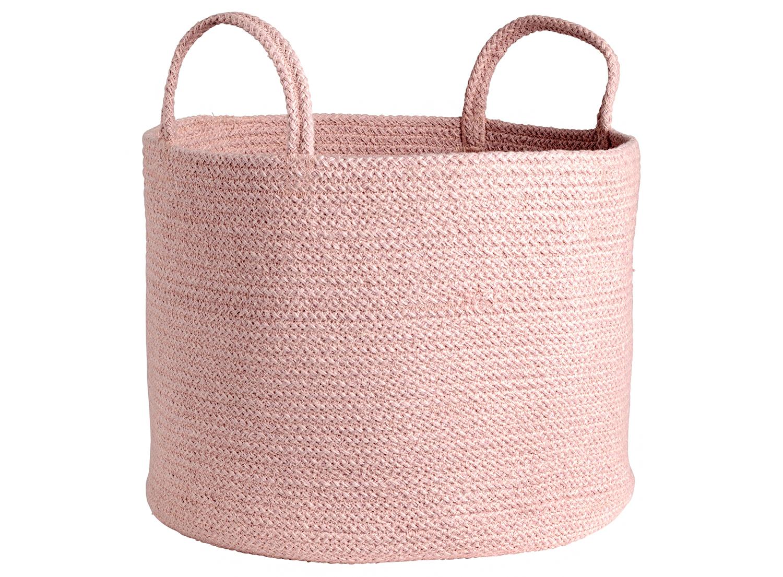 pink cotton storage basket