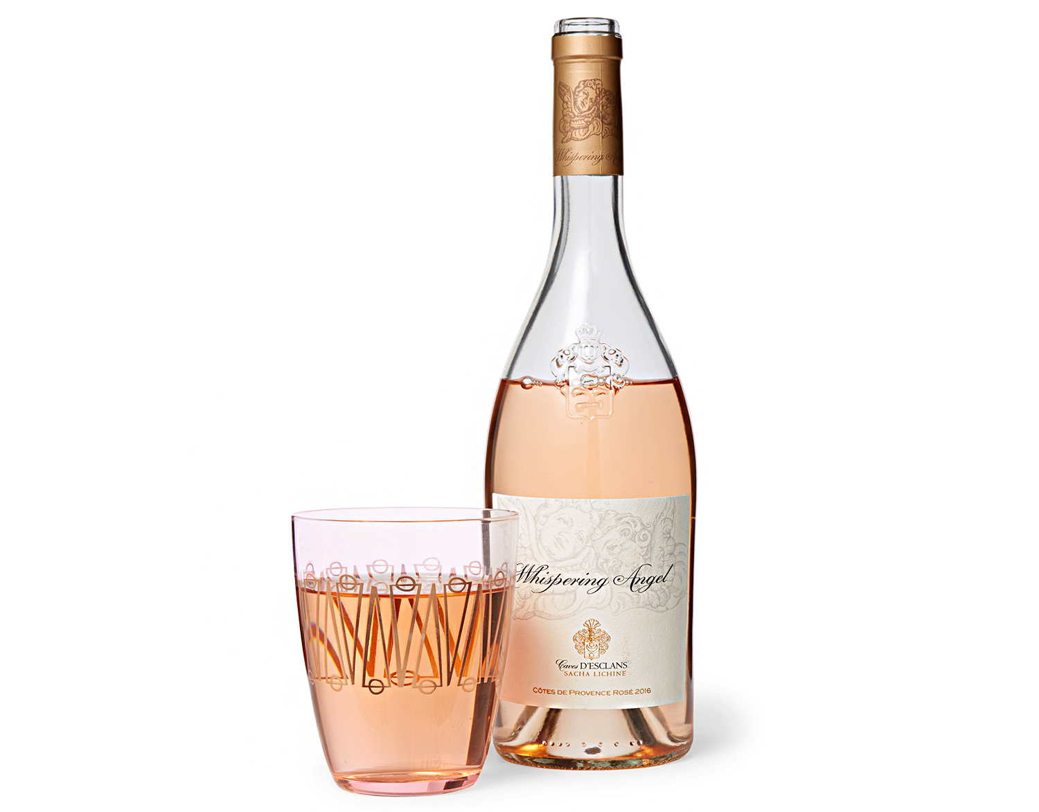 whispering angel rose and stemless wine glasses