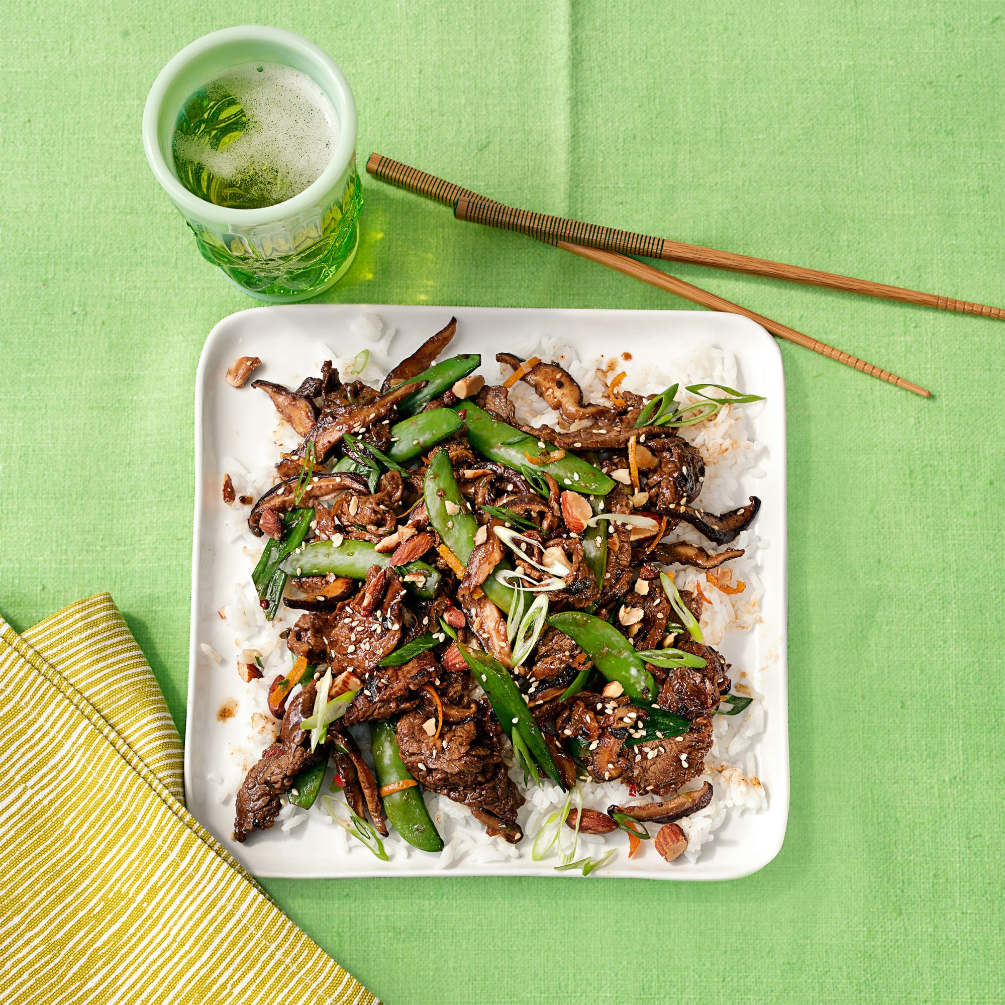 Tangerine Beef Stir Fry with Scallions, Chilies & Snap Peas