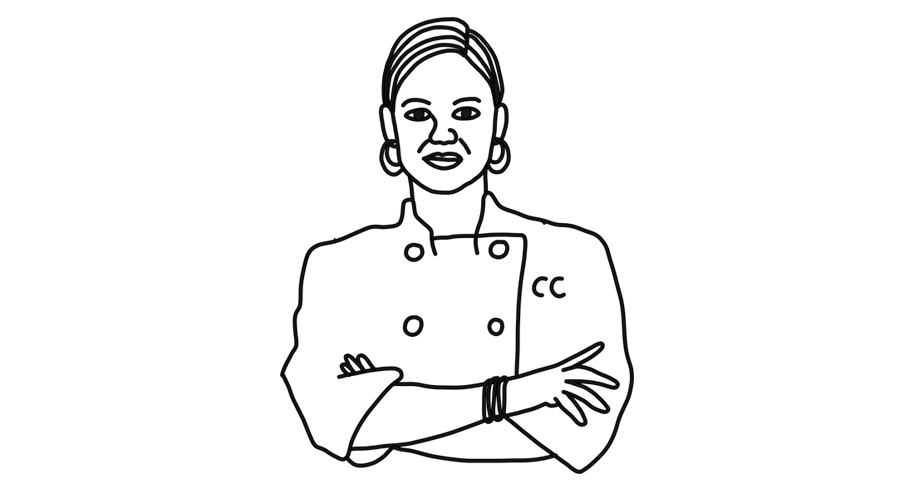 cat cora chef illustration