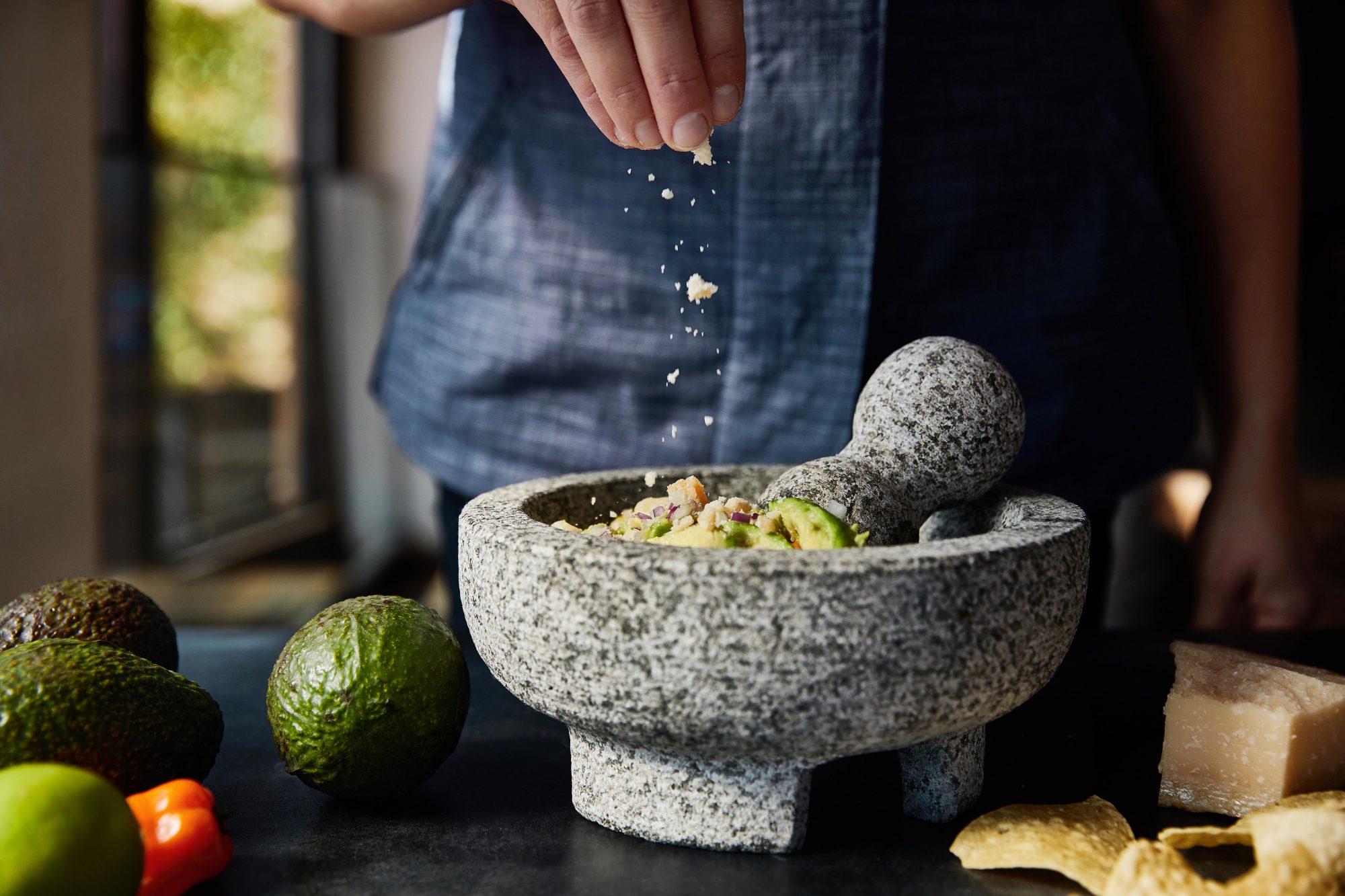 Puesto Perfect Guacamole cheese garnish courtesy PUESTO web
