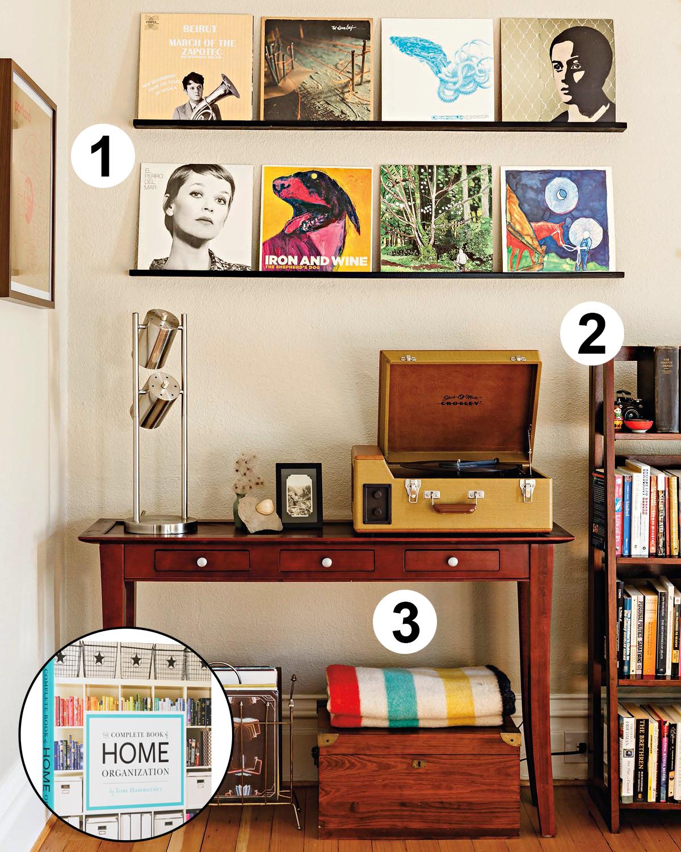 organize living room book