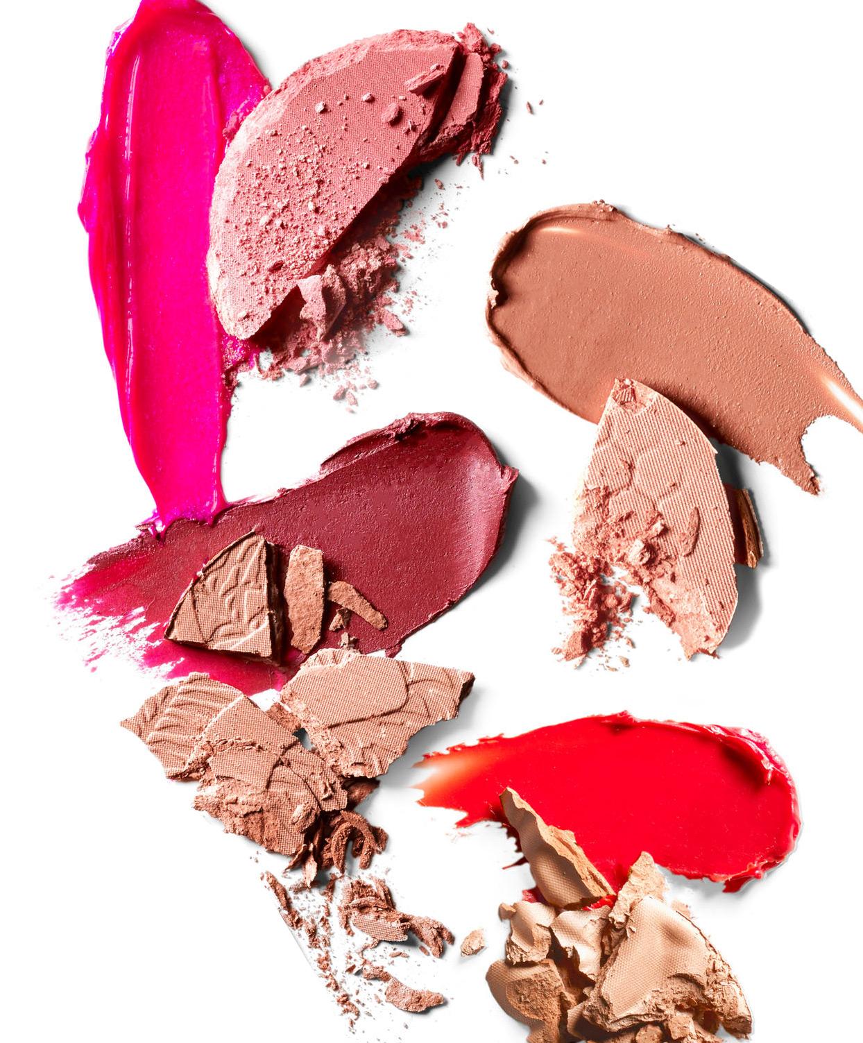 lipstick and blush swatches
