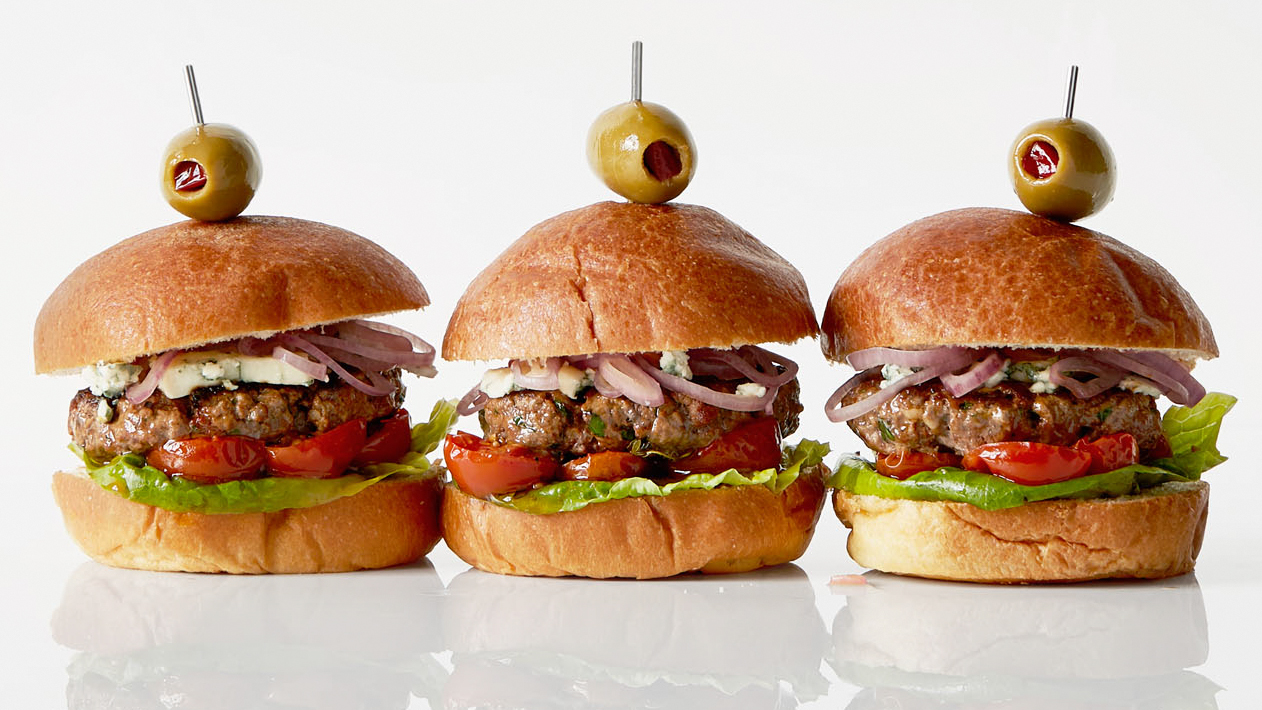 Spanish Sliders with Cabrales Cheese and Pickled Shallots