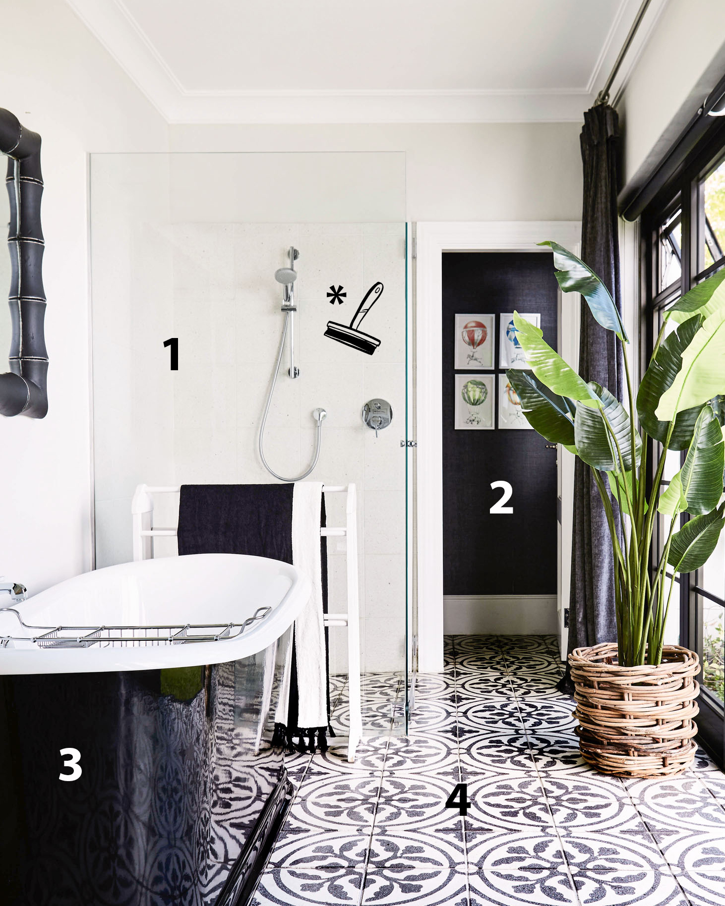 sweet-retreat bathroom and squeegee