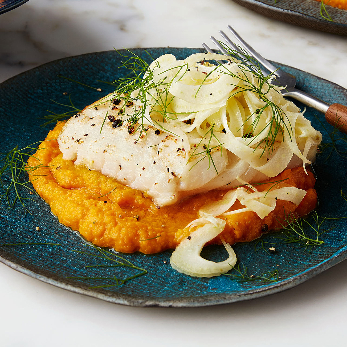 butter basted cod with carrot mash