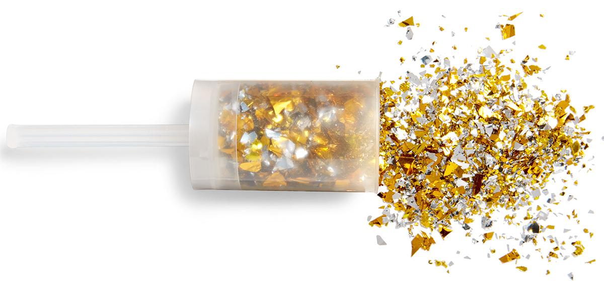silver gold foil confetti poppers