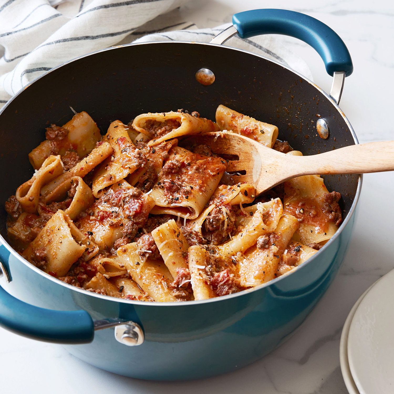 meat lovers sauce with paccheri or rigatoni