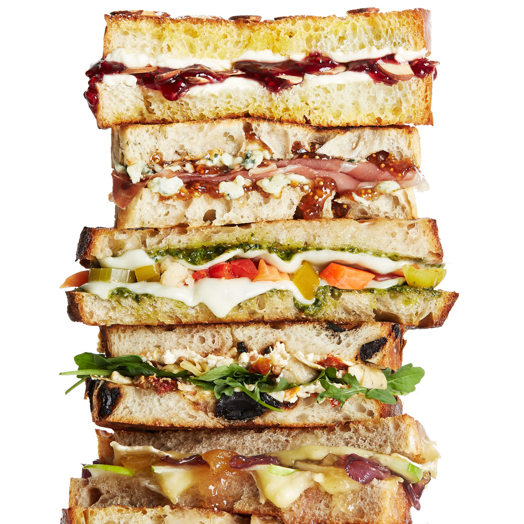 6 varieties of grilled cheese sandwiches