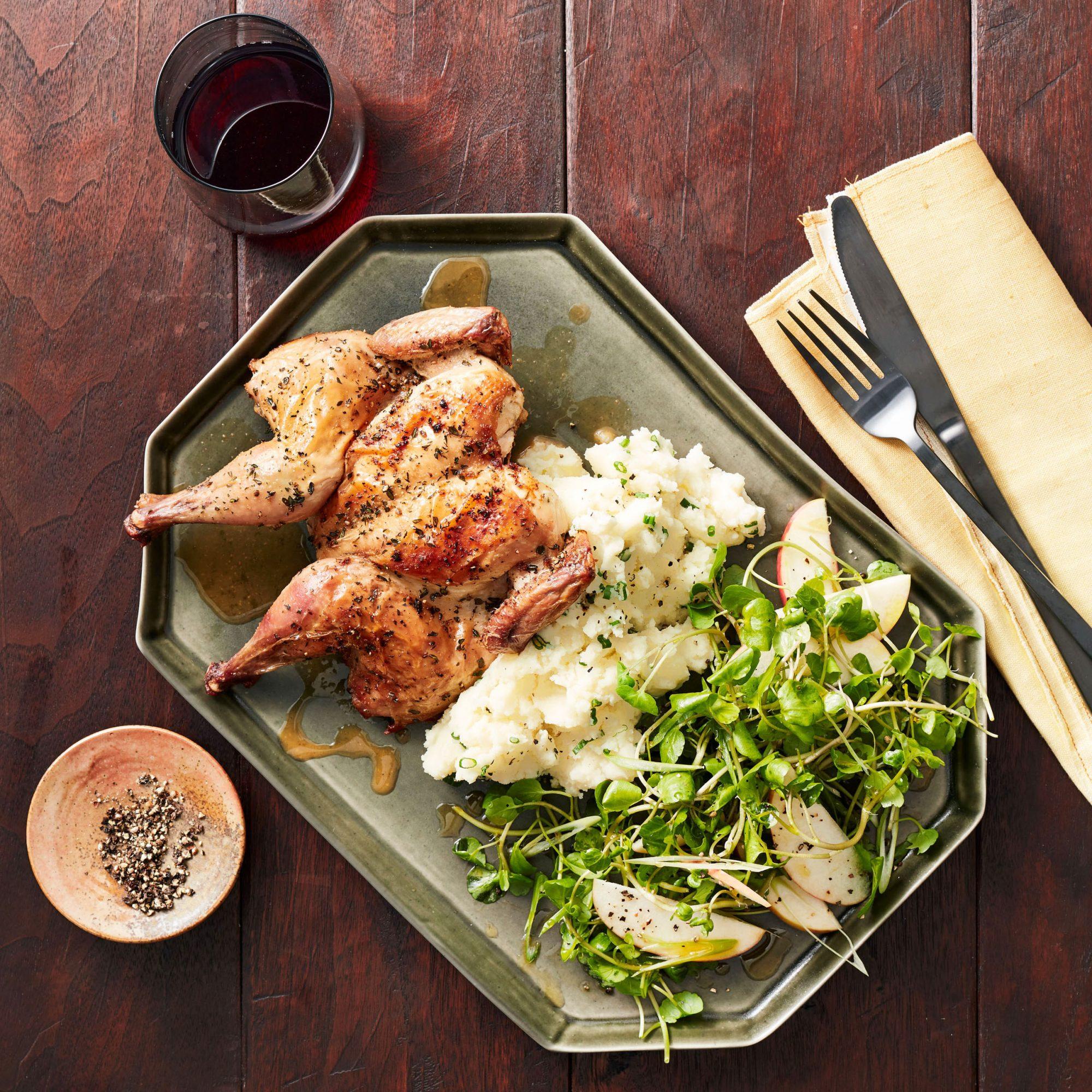 Cornish Hens, Horseradish-Cheddar Potatoes & Cress Salad with Apples