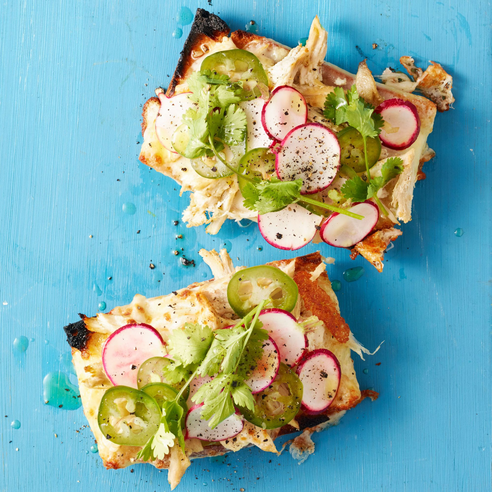 Pulled Chicken Tex-Mex Toasts