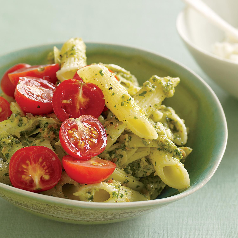 Almond-Herb Pesto Pasta with Artichoke and Tomato
