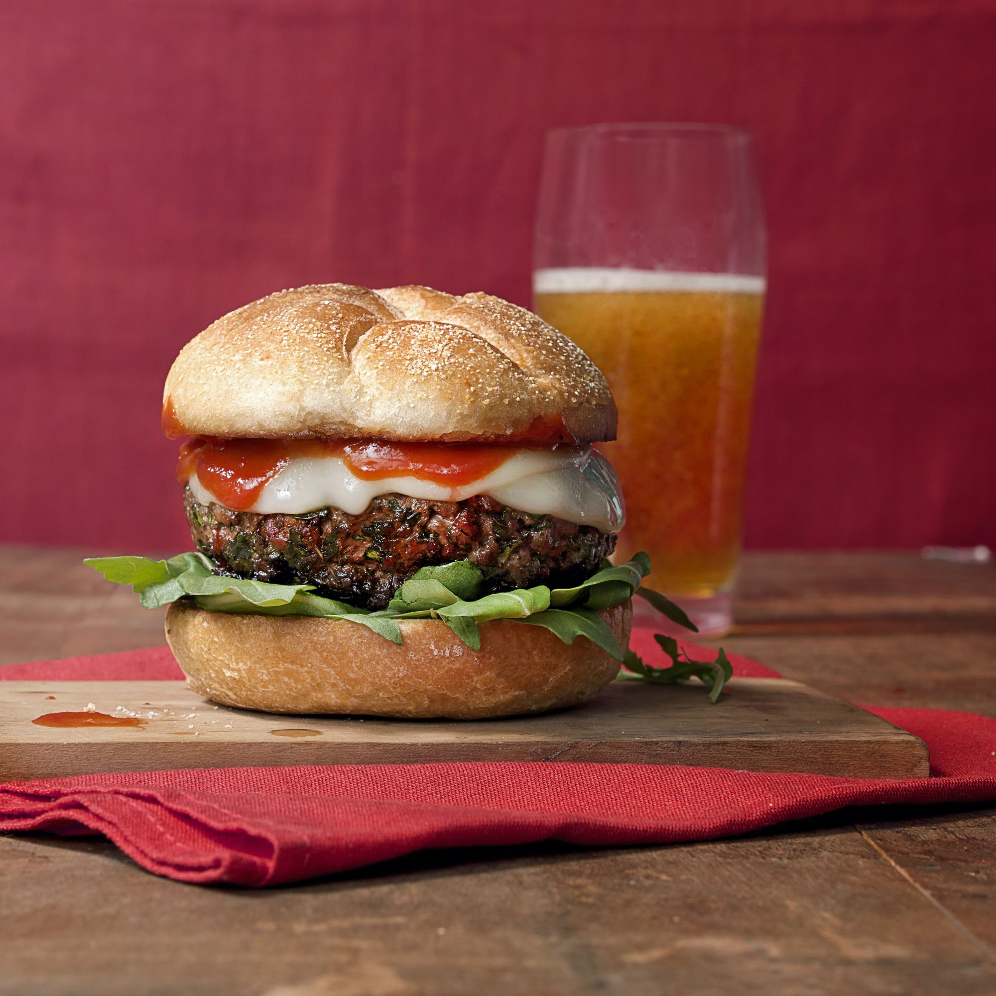 Lamb Burgers with Smoked Pepperoni & Provolone