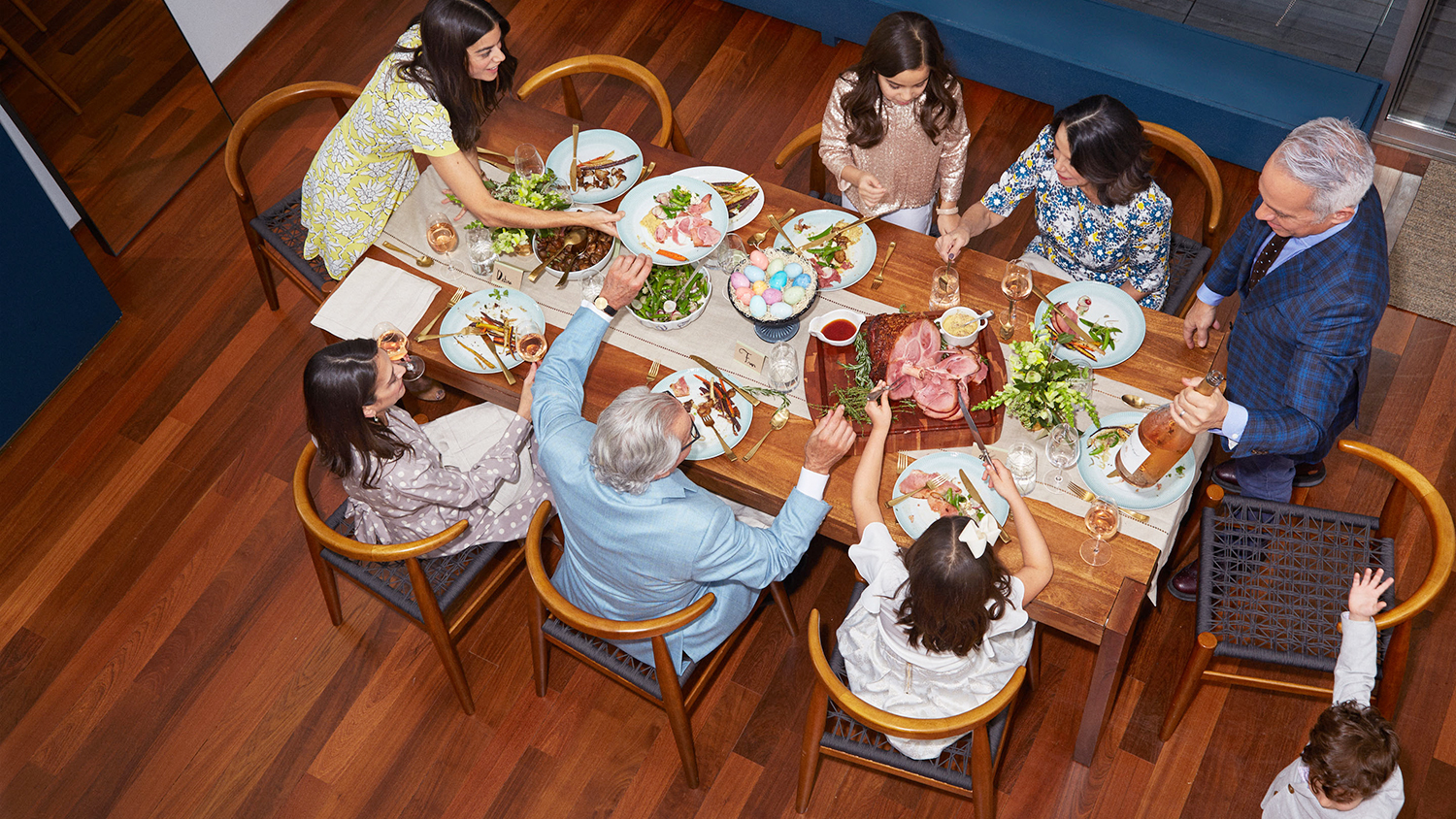 Geoffrey Zakarian's family eating at table