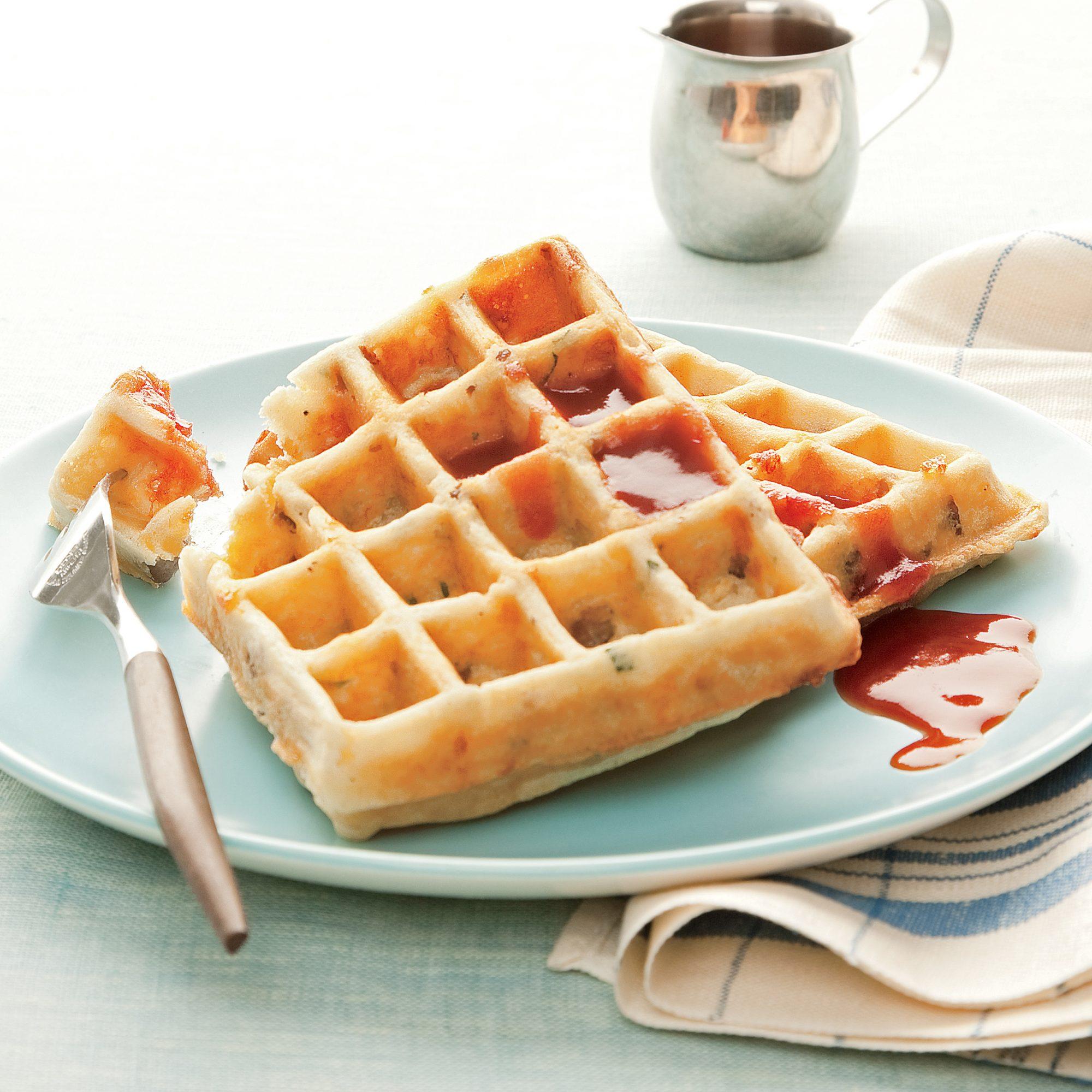sausage potato and cheese waffles
