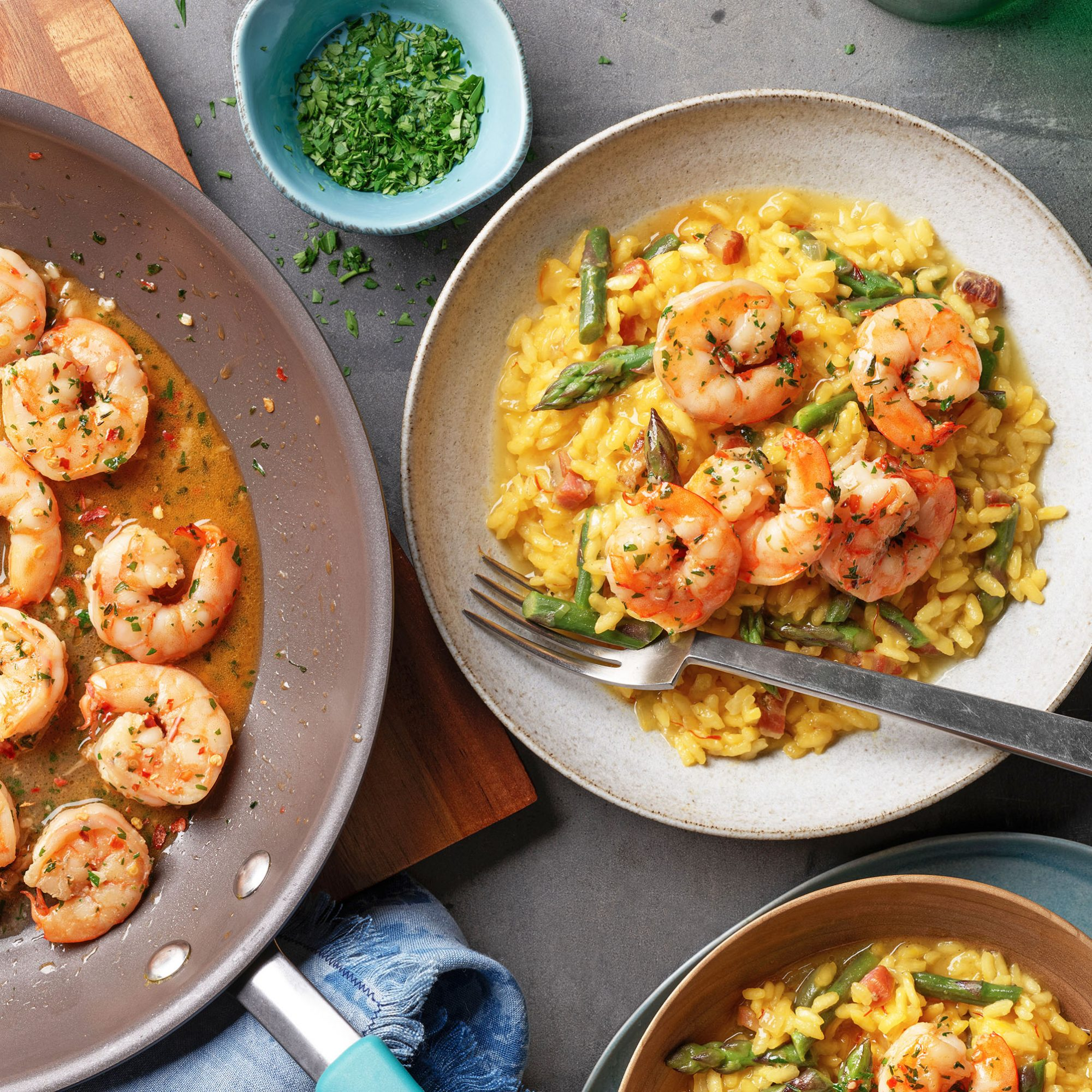 risotto milanese with asparagus & shrimp