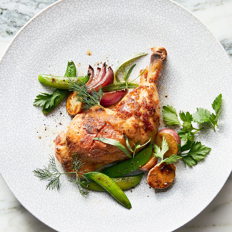 sheet-pan chicken with peas, lemon & herbs