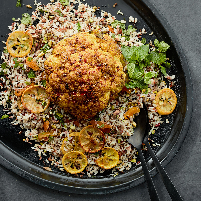 turmeric-roasted cauliflower with apricot-pistachio rice
