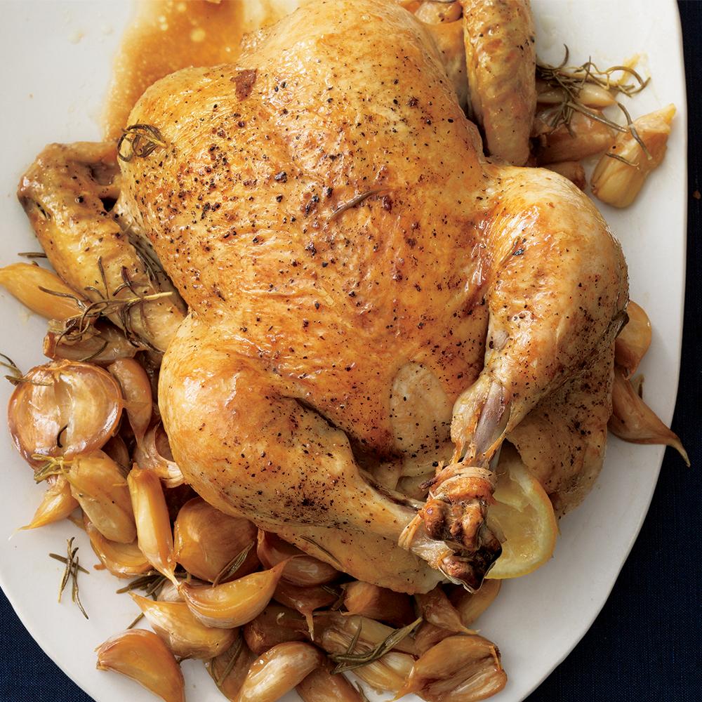 chicken in a pot with garlic