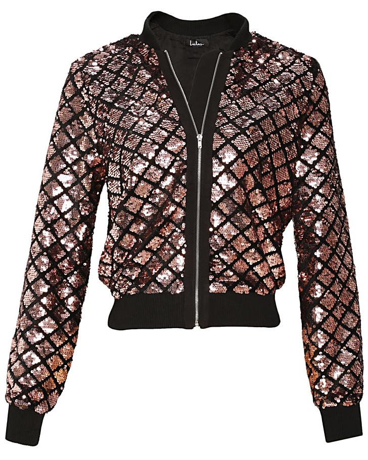 Lulus Catwalk It Off Rose Gold Velvet Sequin Bomber Jacket