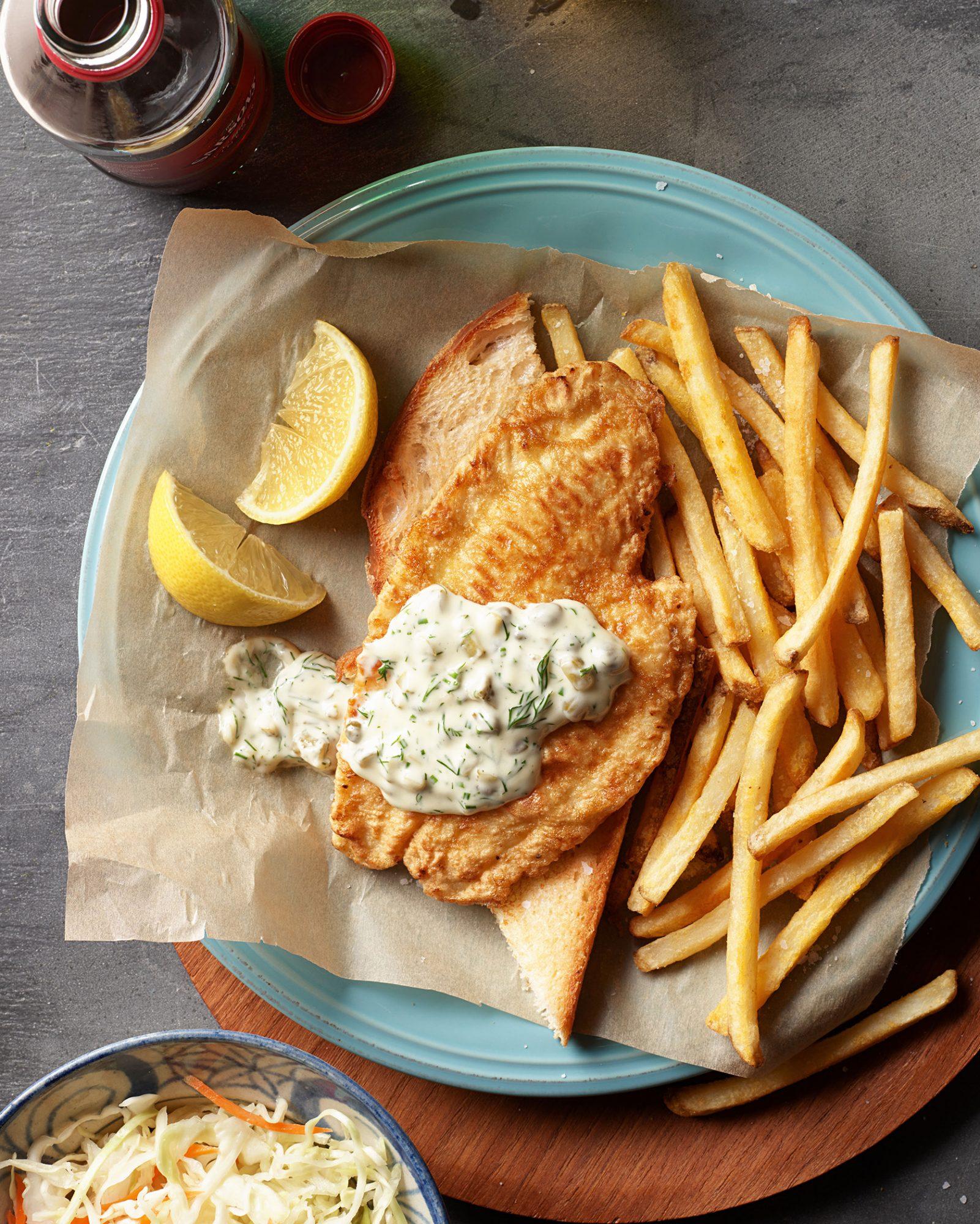 fish francese on toast with vegan tartar sauce