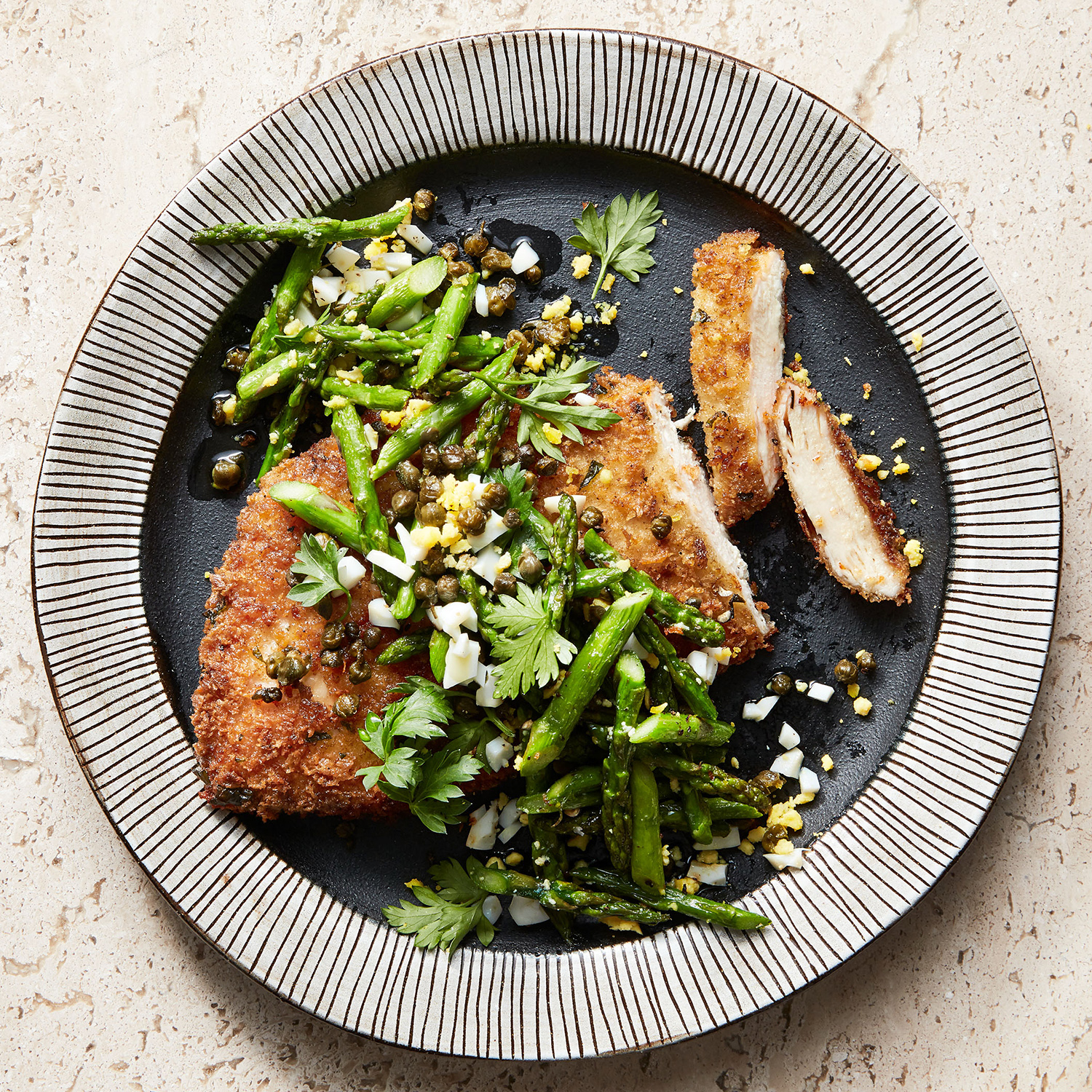 chicken milanese with asparagus salad & crispy capers