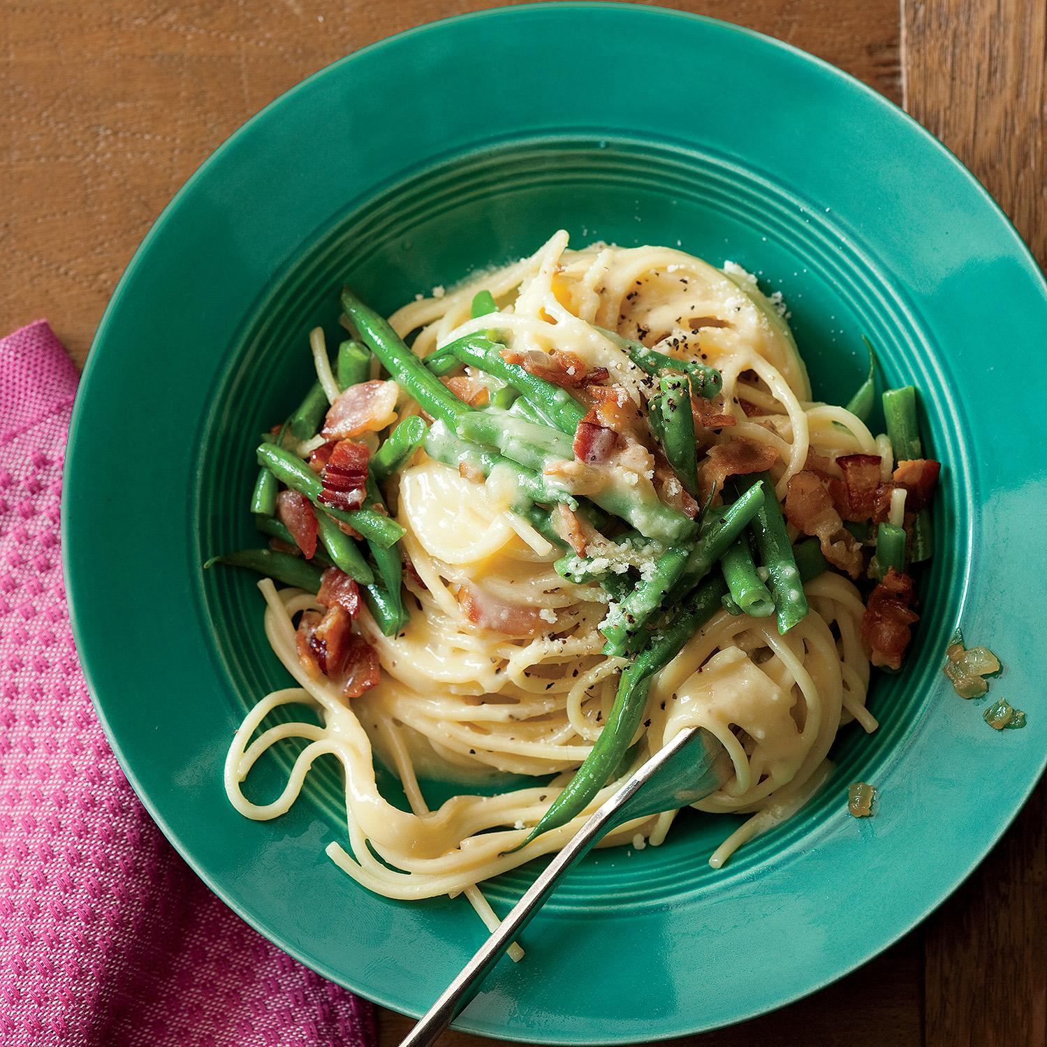 Green Bean Spaghetti Carbonara