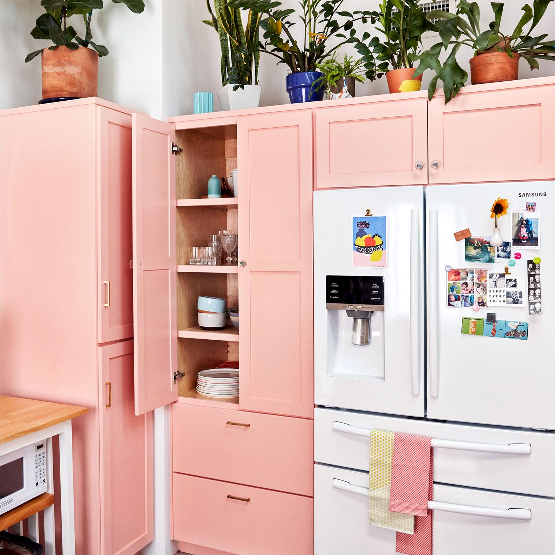 leela cyd's pink kitchen cabinets