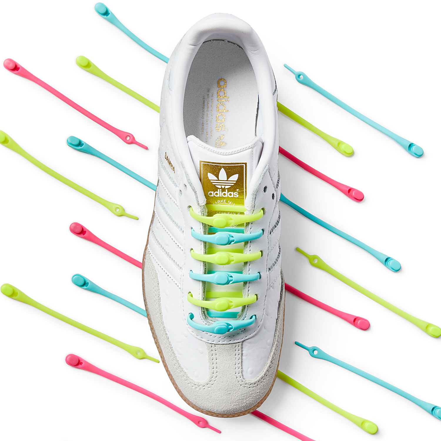Green and Blue Hickies in white Adidas shoes