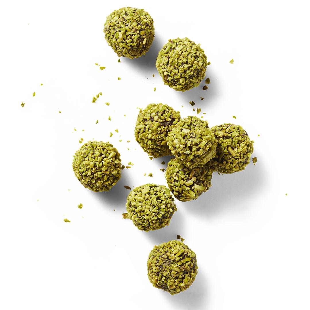 pistachio & orange truffle bites