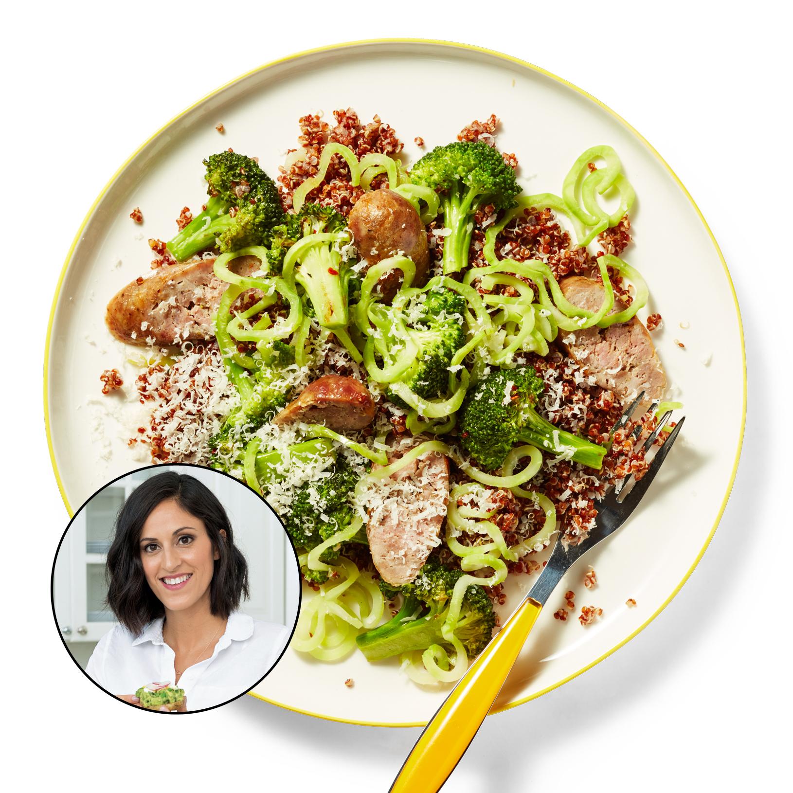ali maffucci quinoa sausage broccoli noodles