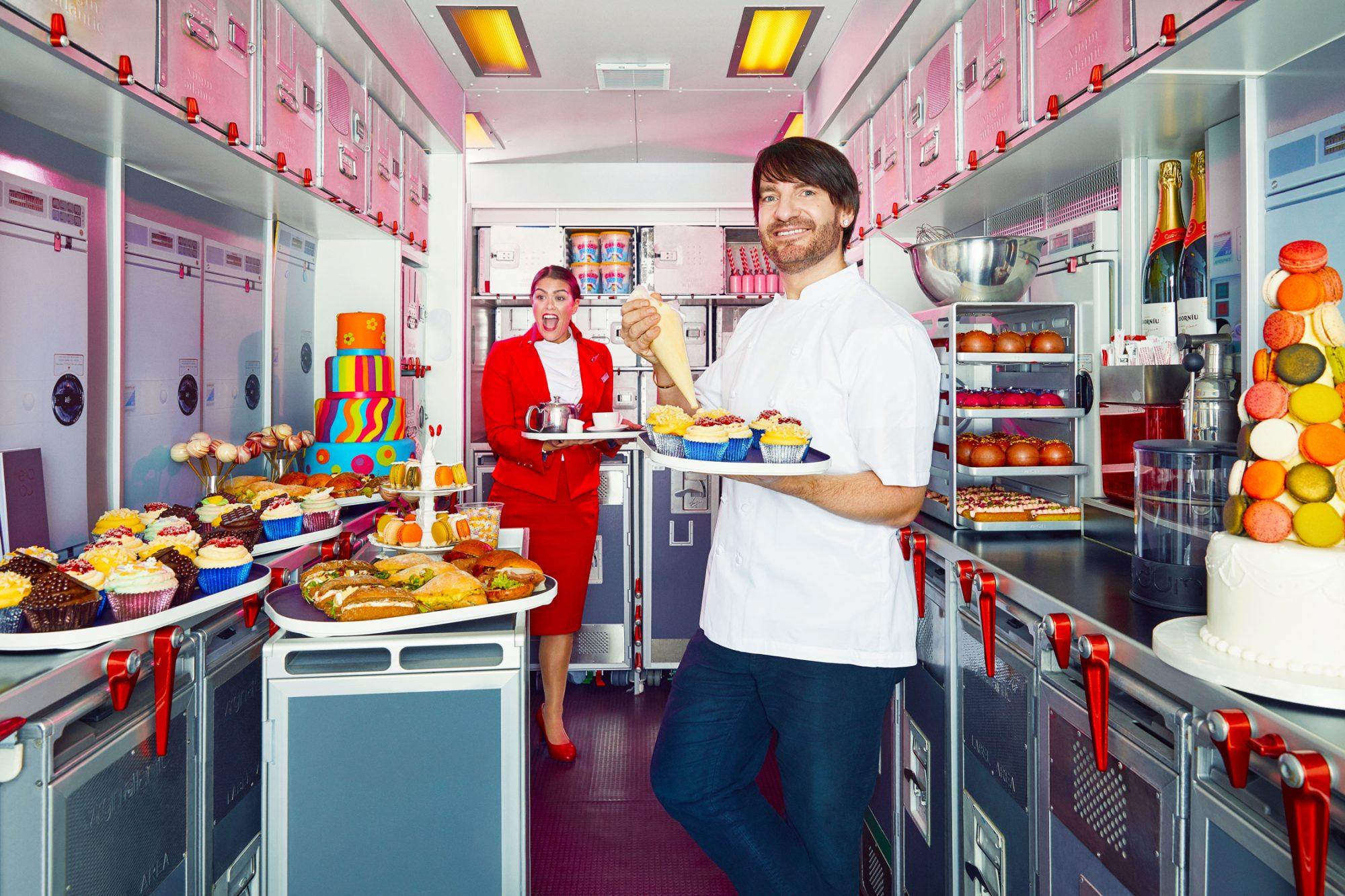 Eric Lanlard trials new afternoon tea onboard Virgin Atlantic