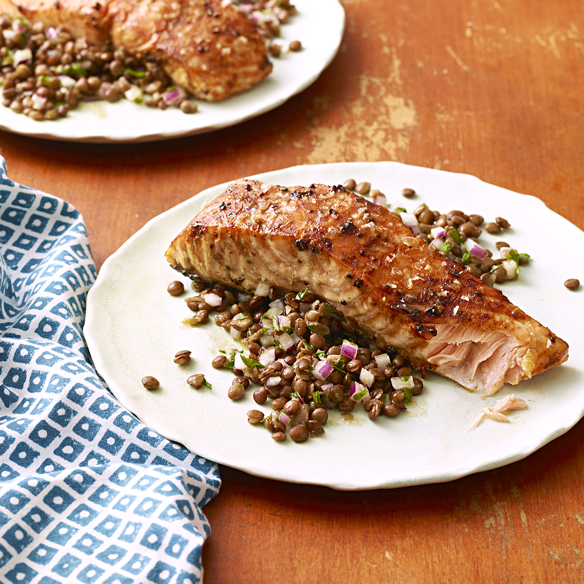 mustard and molasses glazed salmon with lentil salad