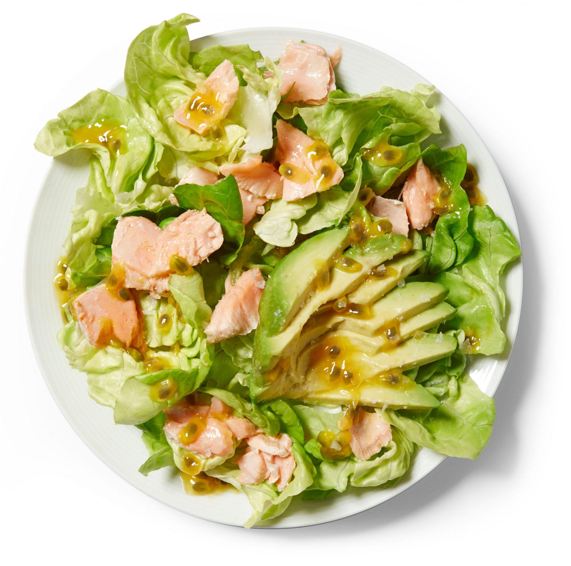 Salmon-Avocado Salad With Passion-Fruit Vinaigrette