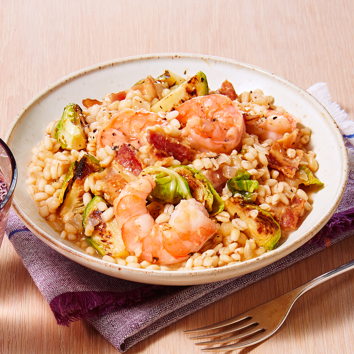 shrimp brussels sprouts barley risotto
