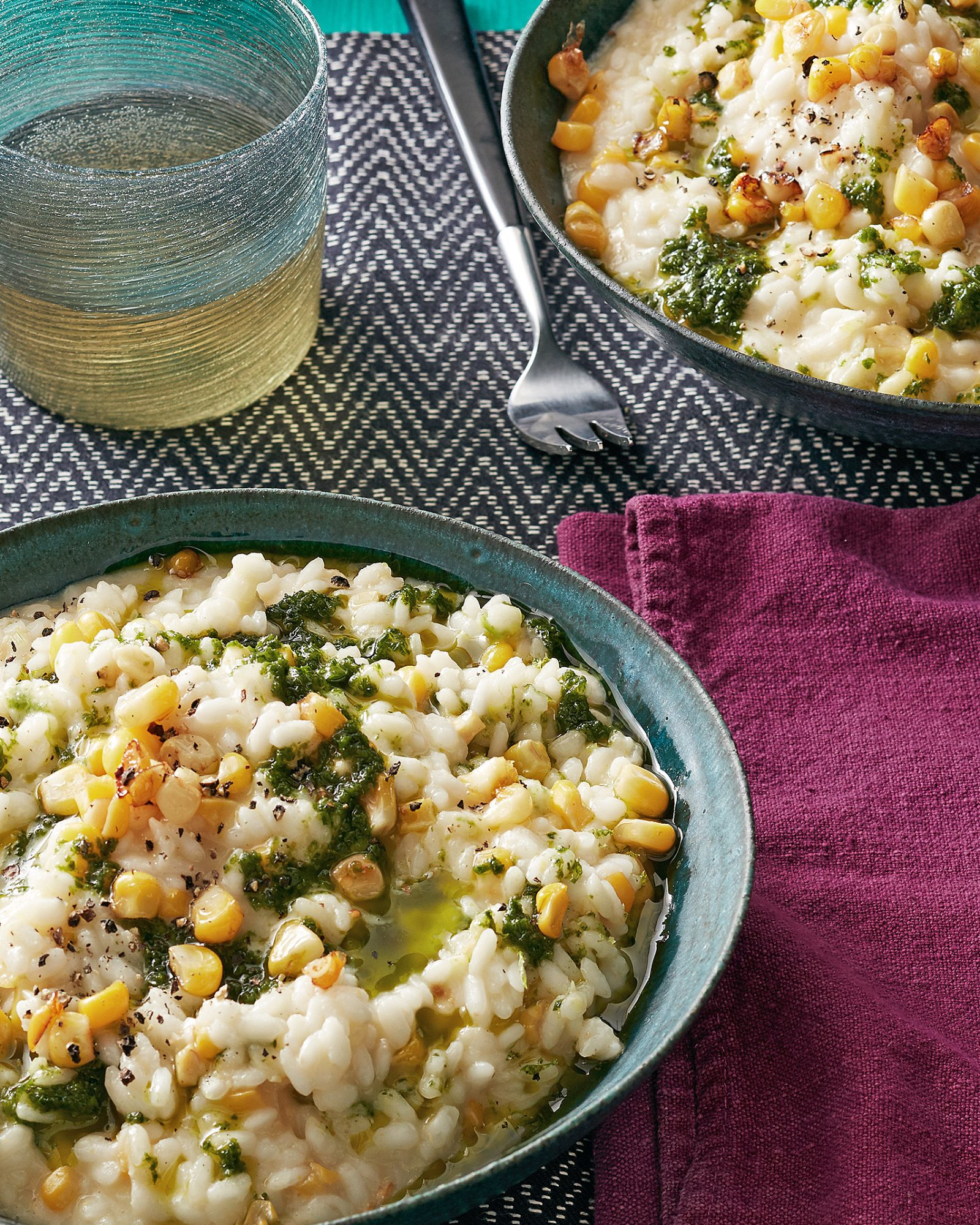 sweet corn risotto with jalapeño pesto
