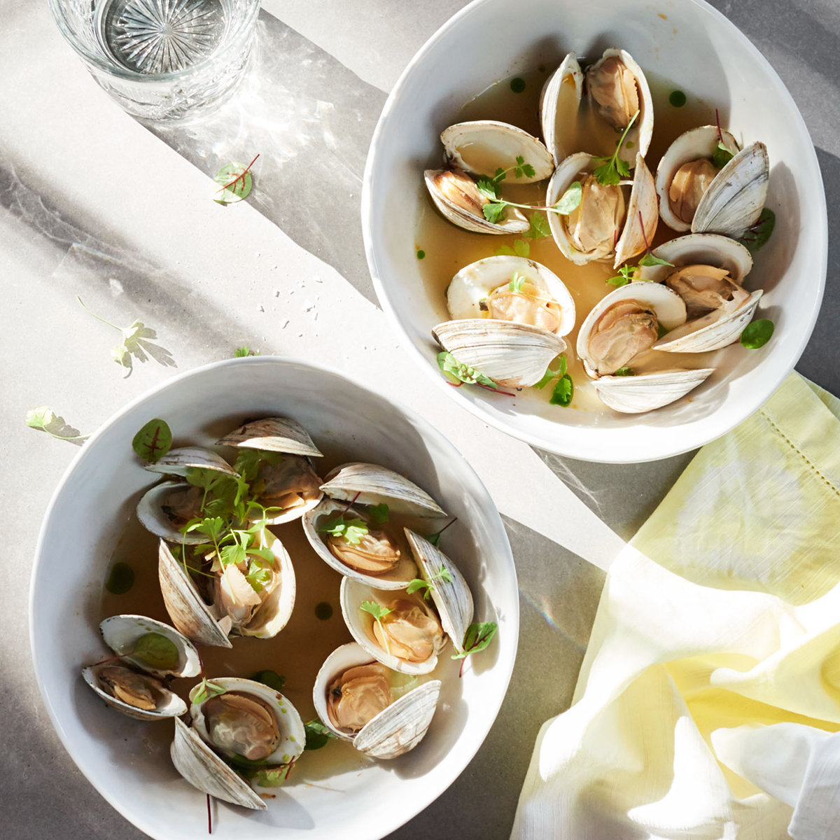 steamed clams with salsa verde