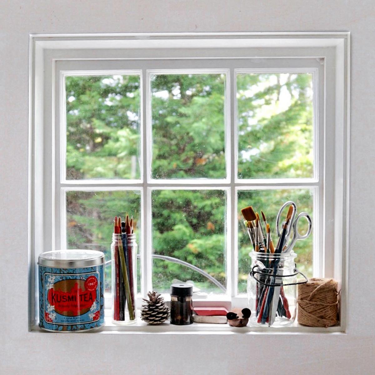 art supplies window sil